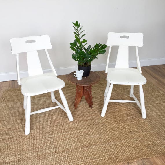 Small Dining Chairs - Painted Furniture - Shabby Chic Chairs - White Distressed Furniture - Vintage Dining Chair - 70s Furniture - Unique