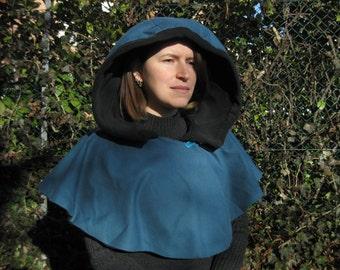 Hooded Cape Pilgrim, blue and black convertible, unisex, grv fantasy cosplay costume