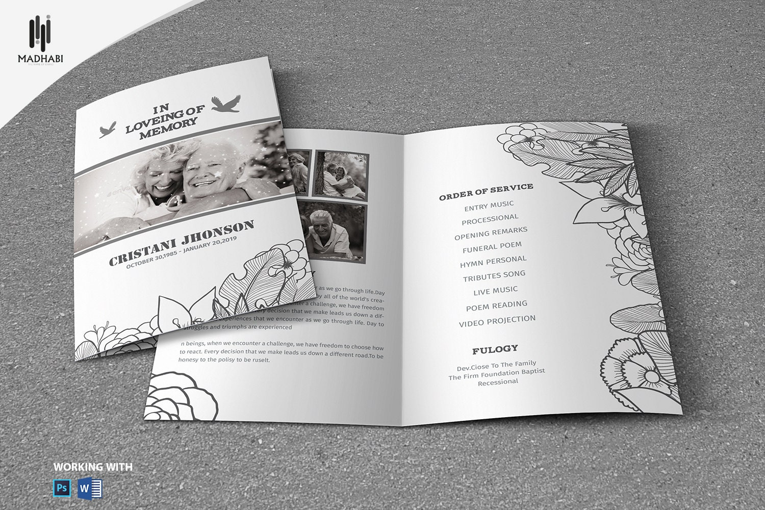 Black & White Funeral Program Template Printable Funeral