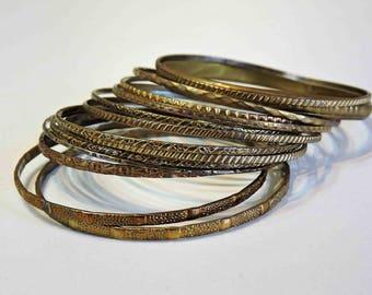 16 Vintage Brass Bangle Bracelets