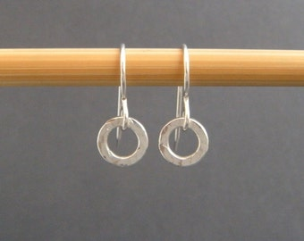 "tiny hammered circle earrings. sterling silver everyday earring. dangles. small drop hoop earrings. simple 1/4"" circle. gift for her."