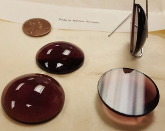 3 Vintage West German Glass Amethyst 28mm. Smooth Round Cabochons 4498