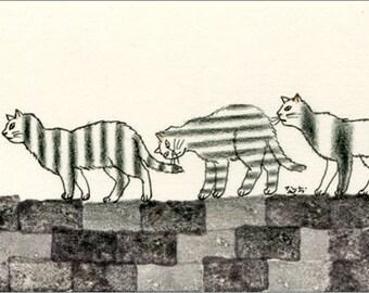 Cat ACEO mixed media Original - Shimashimas