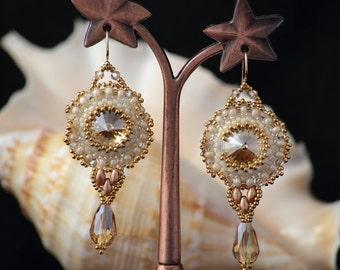 Swarovski crystal earrings Champagne Crystal Earrings, Birthday gifts for girls, Swarovski earrings