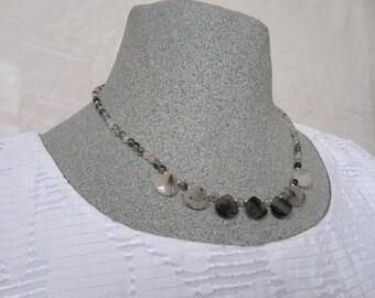 Quartz necklace, rutilated quartz necklace, monochrome necklace