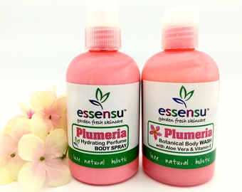Plumeria Hydrating Natural Perfume Body Spray and Botanical Body Lotion Duo | Spa Gift Set | Gift For Her | No Phthalates | Vegan - 4 oz ea