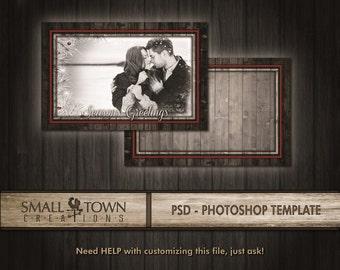 """Rustic Christmas 5x7"""" PSD Card template - Marketing - Advertising - Photography"""