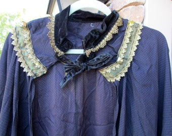 Vintage Gothic Black Cloak Long Wiccan Witch Cape with Gold Trim and Jingling Bells