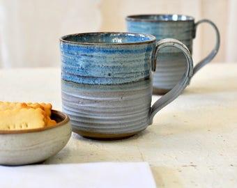 Large ceramic mug, BLUE MUGS, Big ceramic cups, Pottery mugs set, handmade mugs set, rustic mugs, housewarming gift
