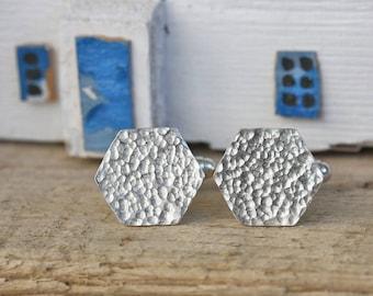 Silver Hammered Hexagon Cufflinks