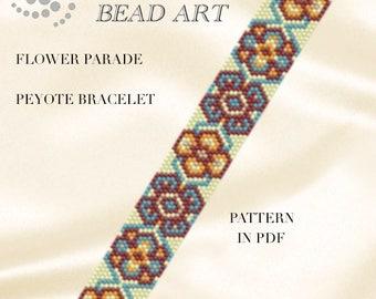 Peyote Pattern for bracelet Flower parade peyote bracelet cuff pattern in PDF instant download