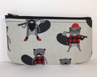 Burley Beaver Zippered Coin Purse Pouch Pencil Bag