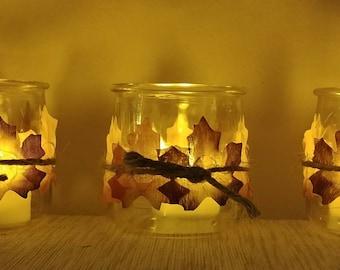 Fall candleholder,  led tealight holder, autumn candleholder, fall leaves, rustic decor, recycled candleholder, shabby chic