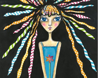 Cute - Whimsical - Funky - Sassy Girl with Flower and Crazy Hair - Art Print - Original