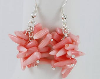 Handmade light pink, little chili shape, branch coral beaded earrings.