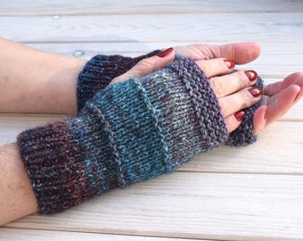 Wool fingerless gloves Womens arm warmers Colorful wrist warmers Knit texting gloves Gift for her