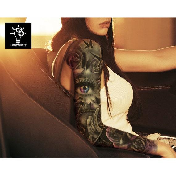 Womens Temporary Tattoos: Rose Temporary Tattoo Sleeve For Women Fake Tattoo Sleeve