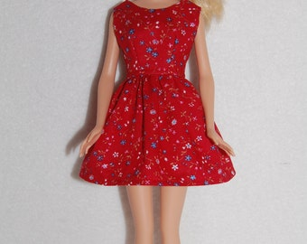 "Barbie doll dress red floral A4B062  11.5"" fashion doll clothes"