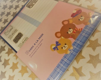 Kawaii 16 Pc. Bears A LA Mode Letter Stationery Set  great for Scrapbooking, Notes, Snail Mail, Pen pal, School, Paper, Stationery, Diy.