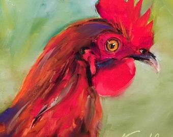 red rooster // rooster // rooster painting // rooster art // kitchen art // fine art // bird // bird painting // bird art // wall art