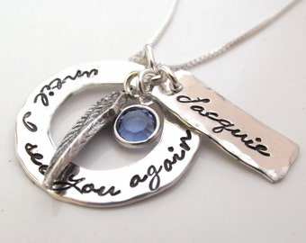 Hand stamped jewelry - Memorial Jewelry  -  Until I see you again - Remembrance Necklace - Loss of a Loved One Gift - Angel Wing Jewelry
