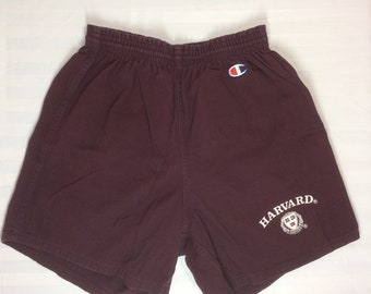 1980s Harvard University Champion cotton gym shorts size large 36-38 burgundy red made in USA track basketball shorts