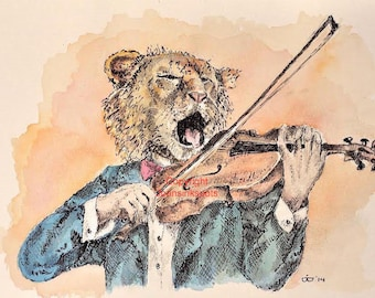 Postcard lion playing the violin