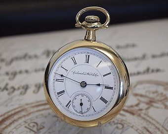 Beautiful Rare Antique Rolled Gold COLUMBUS Co Ohio Pocket Watch