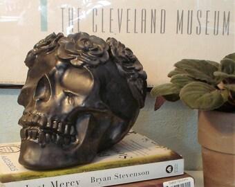 Ceramic Skull Planter, Matte Black Skull Planter, Human Skull Planter, Cactus Planter, Rose Sugarskull, Succulent Planter