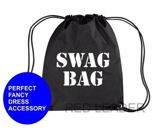 SWAG BAG Printed Gymsac Bag Black Funny Burglar Thief Fancy Dress Costume Hen Party Robber