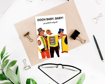 "Salt-N-Pepa ""Push It"" Funny Baby Shower Card (New Baby Card, Pregnancy Card, Expecting Mom Card)"