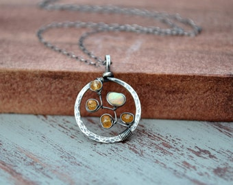 Mandarin Garnet Necklace, Small Mandarin Orange Garnet & Fiery Ethiopian Welo Opal Necklace, Artisan Hammered Silver Circle Pendant, For Her
