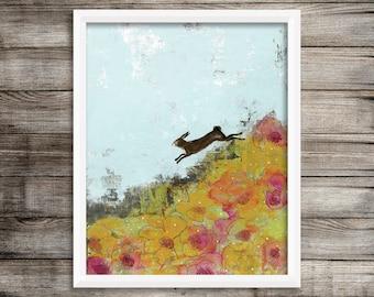 Rabbit Wall Art- Botanical Print, Printable Artwork, Bunny and Landscape Painting Art Print for Your Woodland Nursery Decor