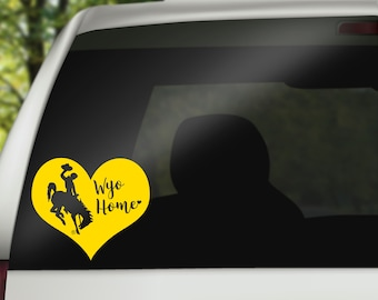 Wyoming Cowboy Decal, Wyoming Home Decal, Bucking Horse Decal, Wyoming Car Decal, Car Accessory, Wyoming Cowboys, Wyoming Pokes, Heart Decal