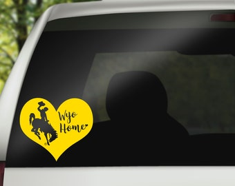 Wyoming Cowboy autocollant maison sticker, Wyoming, tronçonnage cheval sticker, Wyoming voiture sticker voiture accessoire, Wyoming Cowboys, Wyoming poussés, sticker coeur