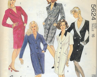 """Vintage 1991 McCall's 5624 Coat Dress Sewing Pattern Size 16 Bust 38"""""""