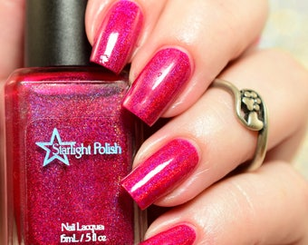 Sparkling Bows Fuchsia Pink Purple Holographic Winter Holodays Cool Holo Indie Nail Lacquer Starlight Polish