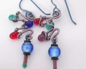 Colorful Earrings on Blue Ear Wire Contemporary Design Primary Colors