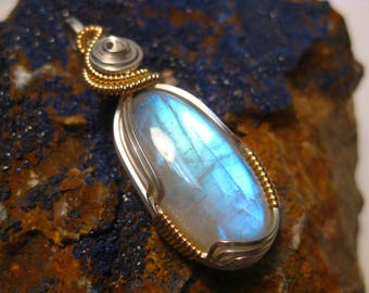 Rainbow Moonstone Wire Wrapped Pendant in Sterling Silver & 14k Gold Filled Wire