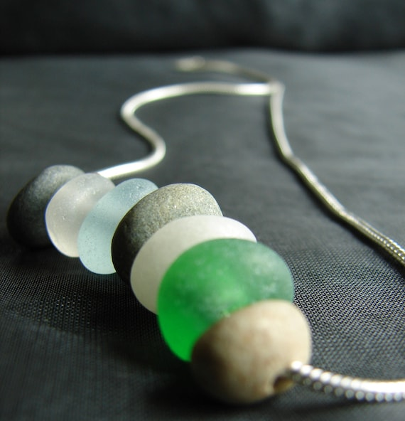 Beach Walk beach pebble and sea glass necklace