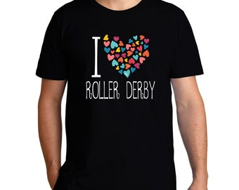 I Love Roller Derby Colorful Hearts T-Shirt