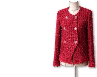 Red Boucle Button Down Tweed Couture-Style Jacket