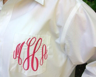Monogrammed Button Down shirt, Bride or Bridesmaid, Wedding day party cover up or Sorority gift