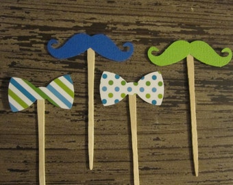 12 Bow Ties / Mustache Cupcake Toppers