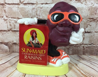 Vintage 1987 California Raisins PVC Coin Bank Figure Toy by Applause