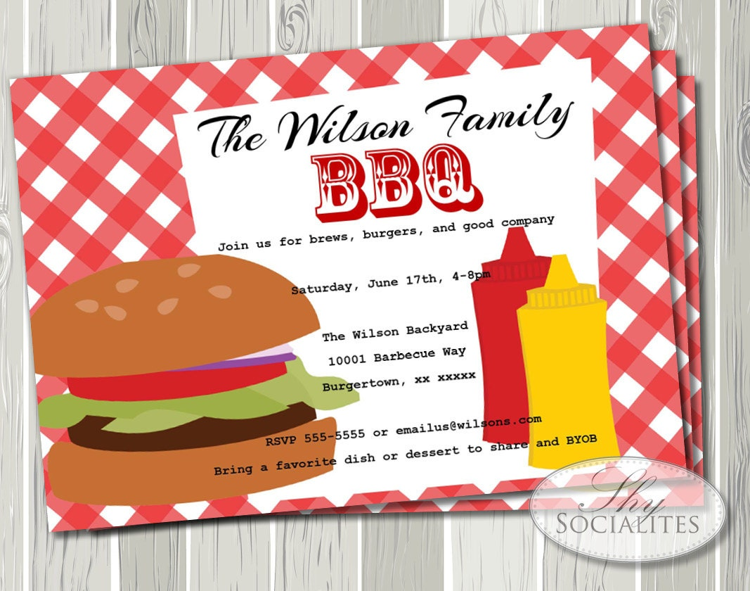 BBQ Invitation hamburger Picnic Barbeque Company Picnic