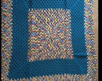 Blue and Multicolor Crochet Afghan