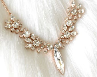Bridal Necklace, Bridal Crystal Necklace, Swarovski Necklace, Rose Gold Bridal Necklace, Statement Necklace, Crystal Cluster Bridal Necklace