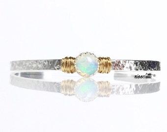 Welo Opal Bracelet / October Birthstone Gift for Wife / Genuine Ethiopian Opal Sterling Silver Cuff / 14k Gold Filled Opal Bracelet