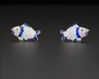 Vintage 1970s Tiny Sterling Silver Enamel Fish Earrings